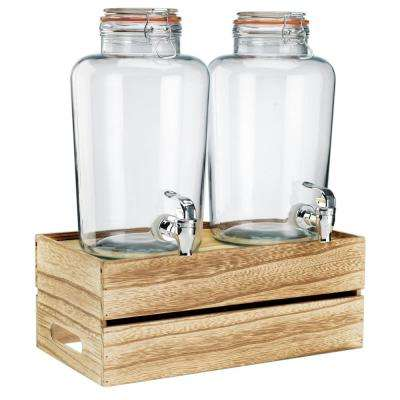 Double 1 Gal. Dispenser with Wood Crate Base