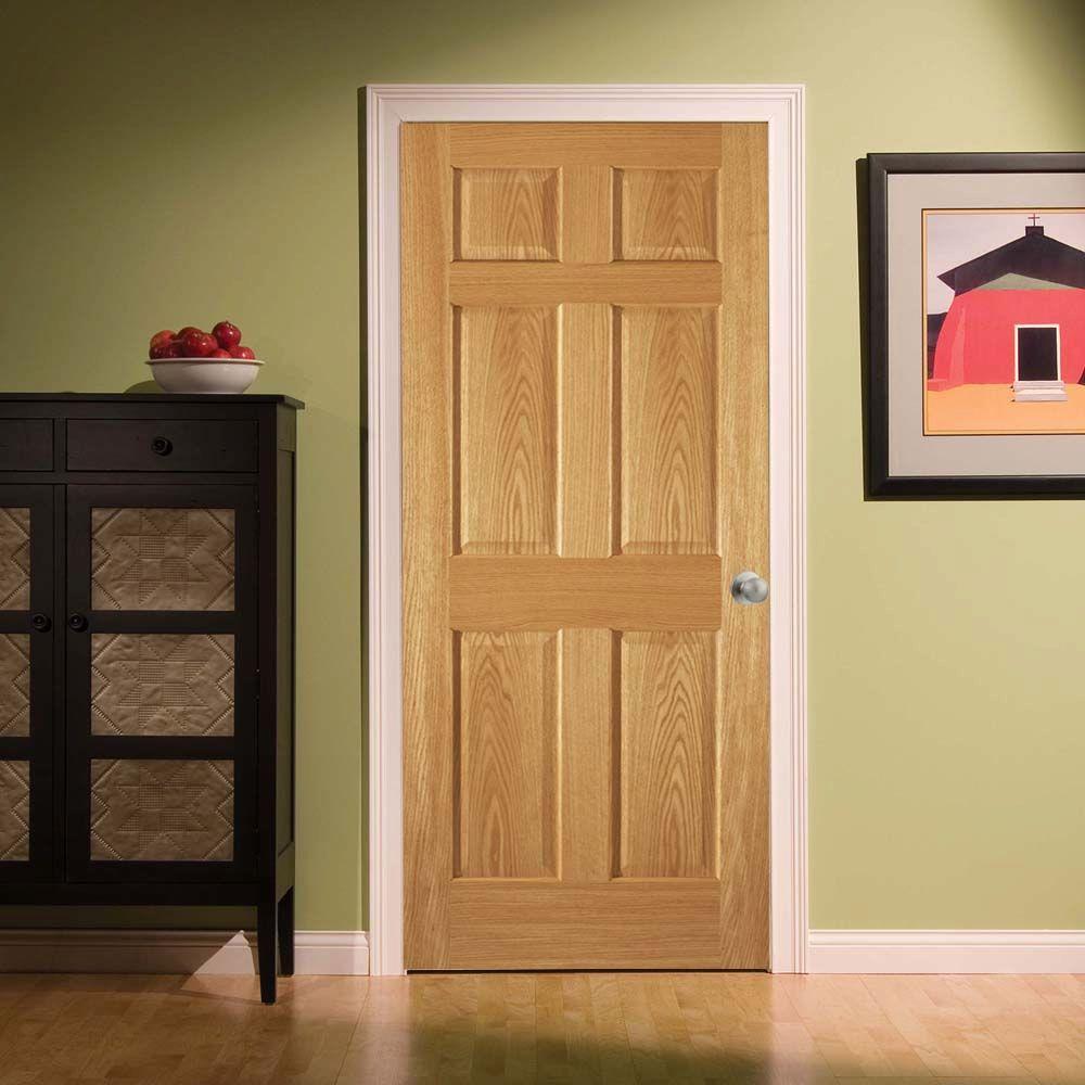 6-Panel Unfinished Red Oak Interior Door Slab