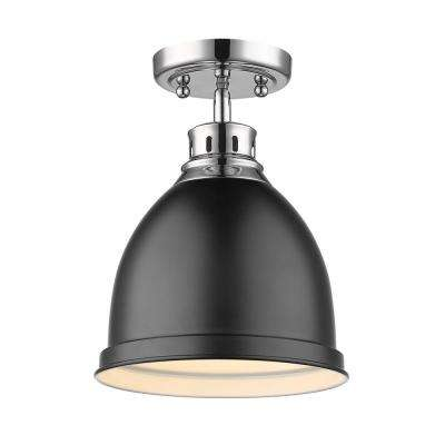 Duncan Collection 1-Light Chrome Flush Mount with Matte Black Shade