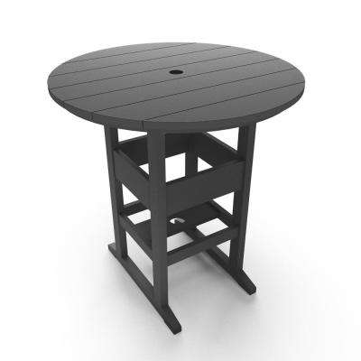 Bar height tables outdoor bar furniture the home depot durawood outdoor plastic bar height outdoor dining table in black watchthetrailerfo