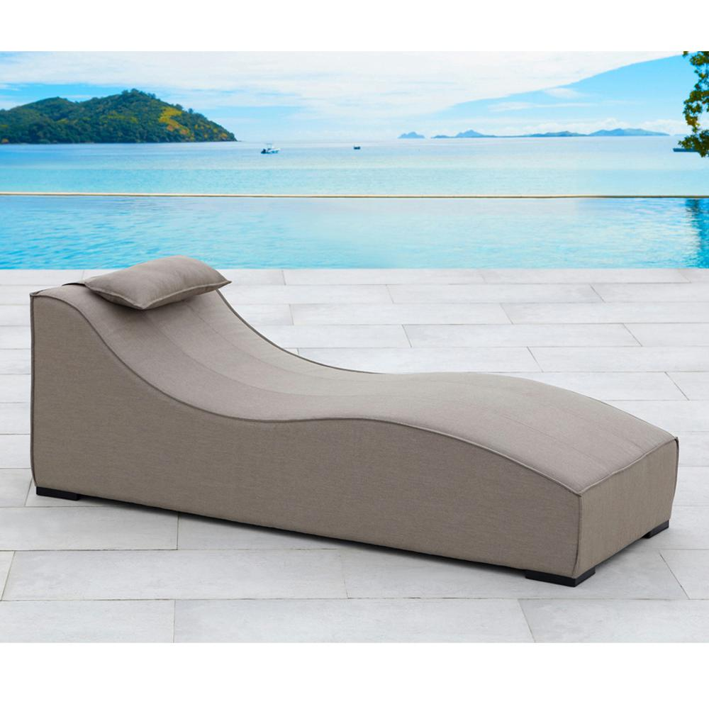 OVE Decors Breeze UV Protected Aluminum Outdoor Lounge Chair With Sunbrella  Taupe Cushion