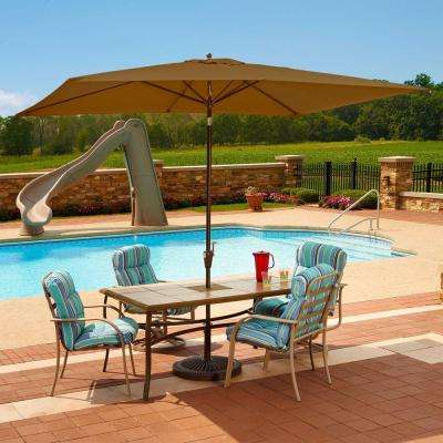 Adriatic 6.5 ft. x 10 ft. Rectangular Aluminum Market Auto-Tilt Patio Umbrella in Stone Olefin