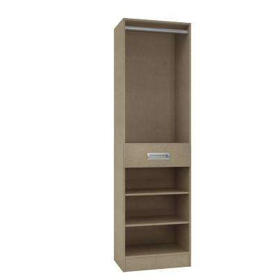15 in. D x 24 in. W x 84 in. H Firenze in Taupe Linen Melamine with 3-Shelves, Drawer and Hanging Rod Closet System Kit