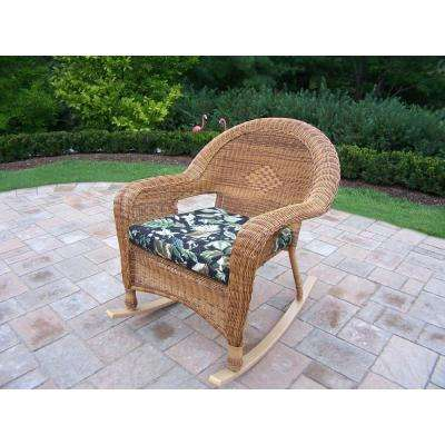 Natural Wicker 1-Piece Patio Conversation Set with Black Floral Cushions