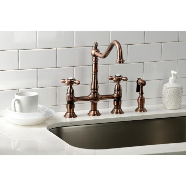Kingston Brass Heritage 2 Handle Bridge Kitchen Faucet With Side Sprayer In Antique Copper Hks127axbsac The Home Depot