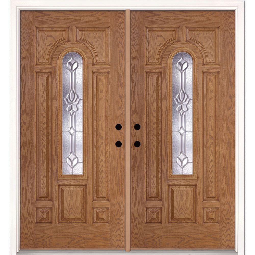 74 in. x 81.625 in. Medina Zinc Center Arch Lite Stained Light Oak Left-Hand Fiberglass Double Prehung Front Door