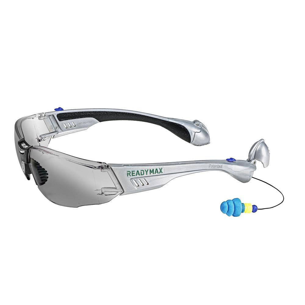 cb3997c55 Construction Safety Glasses Silver Frame Grey Lens with NRR 25 db Silicone  PermaPlugs