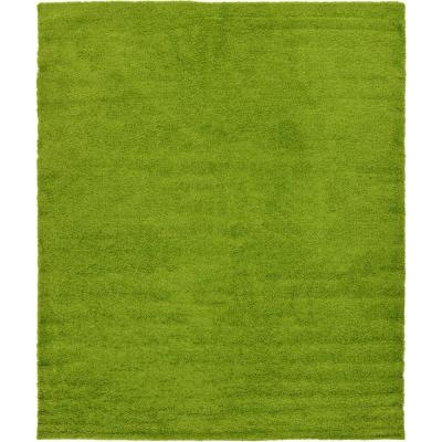 Solid Shag Grass Green 12 ft. x 15 ft. Area Rug