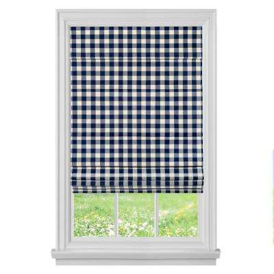 Buffalo Check Navy Cordless Roman Shade - 27 in. W x 64 in. L