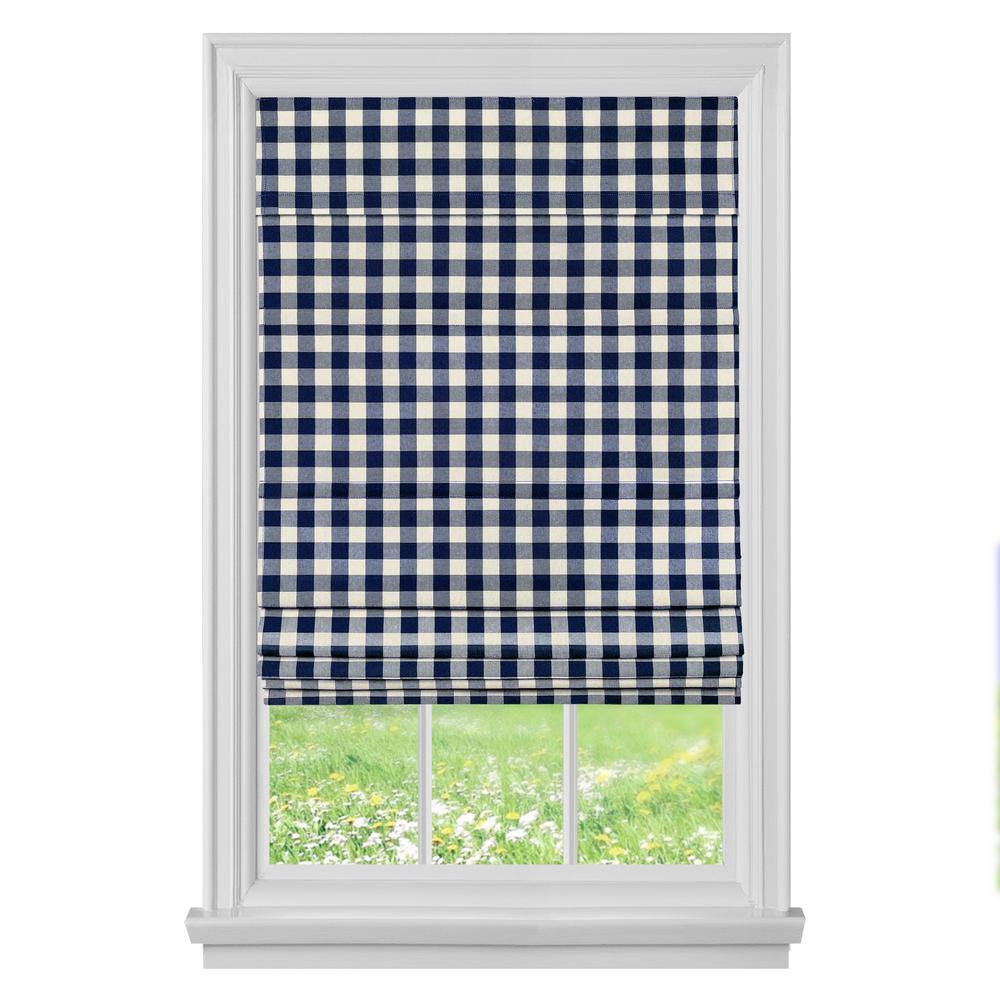 29 Best Roman Blinds By Tonic Living Images On Pinterest: Achim Buffalo Check Navy Cordless Roman Shade