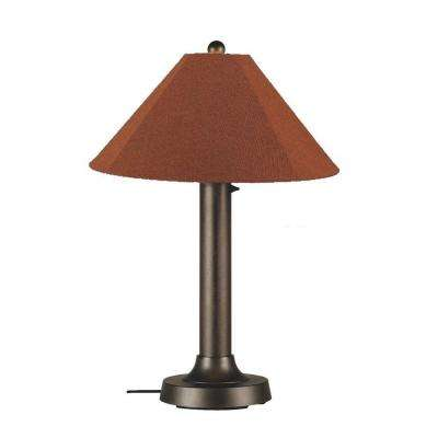 Catalina 34 in. Bronze OutdoorTable Lamp with Chile Linen Shade
