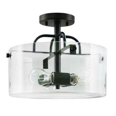 3-Light Bronze Semi-Flushmount with Clear Glass Shade