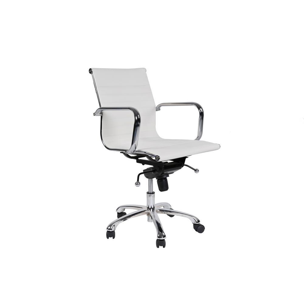 Manhattan Comfort Delancey Mid-Back Adjustable White Office Chair (Set of 2)