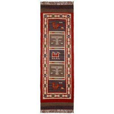 Blue Hacienda Wool & Jute 3 ft. x 8 ft. Runner Rug