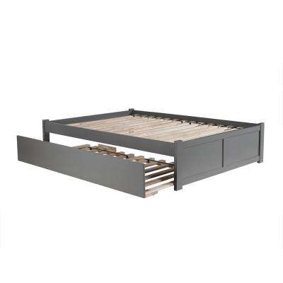 Concord Full Platform Bed with Flat Panel Foot Board and Twin Size Urban Trundle Bed in Grey