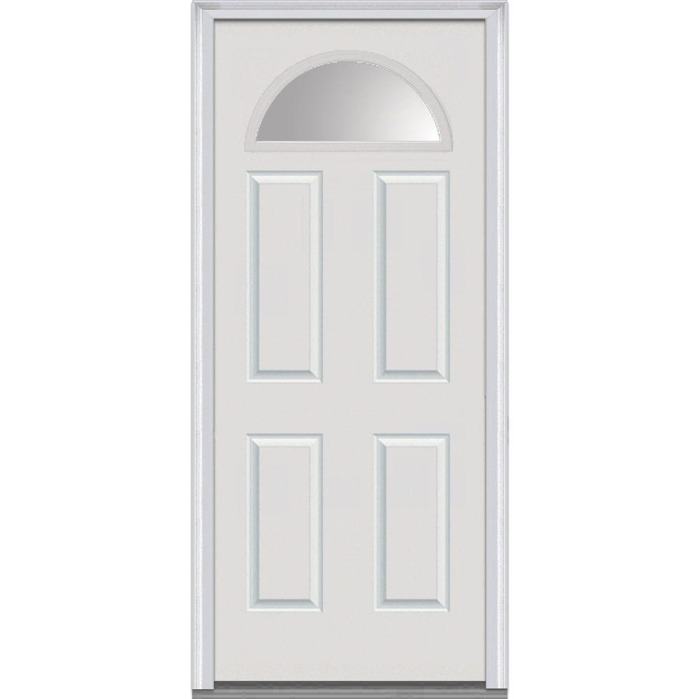 Mmi Door 30 In X 80 In Clear Glass Right Hand Fan Lite 4 Panel Classic Primed Steel Prehung