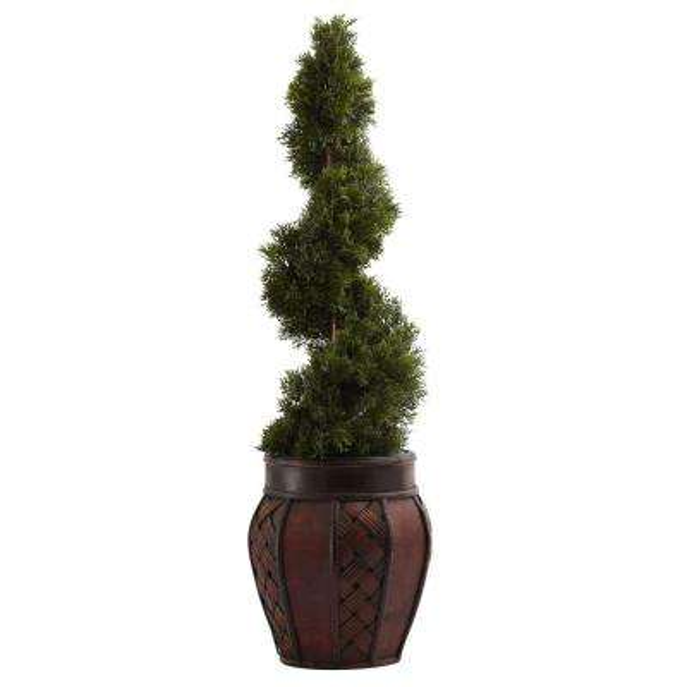 Cedar Spiral with Decorative Planter