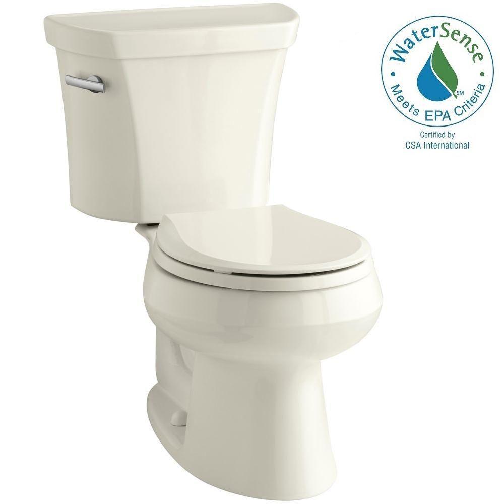 KOHLER Wellworth 2-piece 1.28 GPF Single Flush Round Toilet in Biscuit