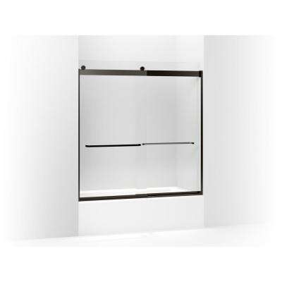 Levity 59.625 in. W x 62 in. H Frameless Sliding Tub Door with Handles in Anodized Dark Bronze