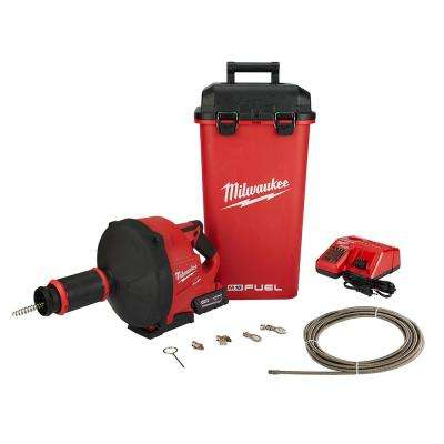 M18 FUEL 18-Volt Lithium-Ion Cordless Drain Cleaning Snake Auger with 1/4 in. and 3/8 in. Cable Drive Kit