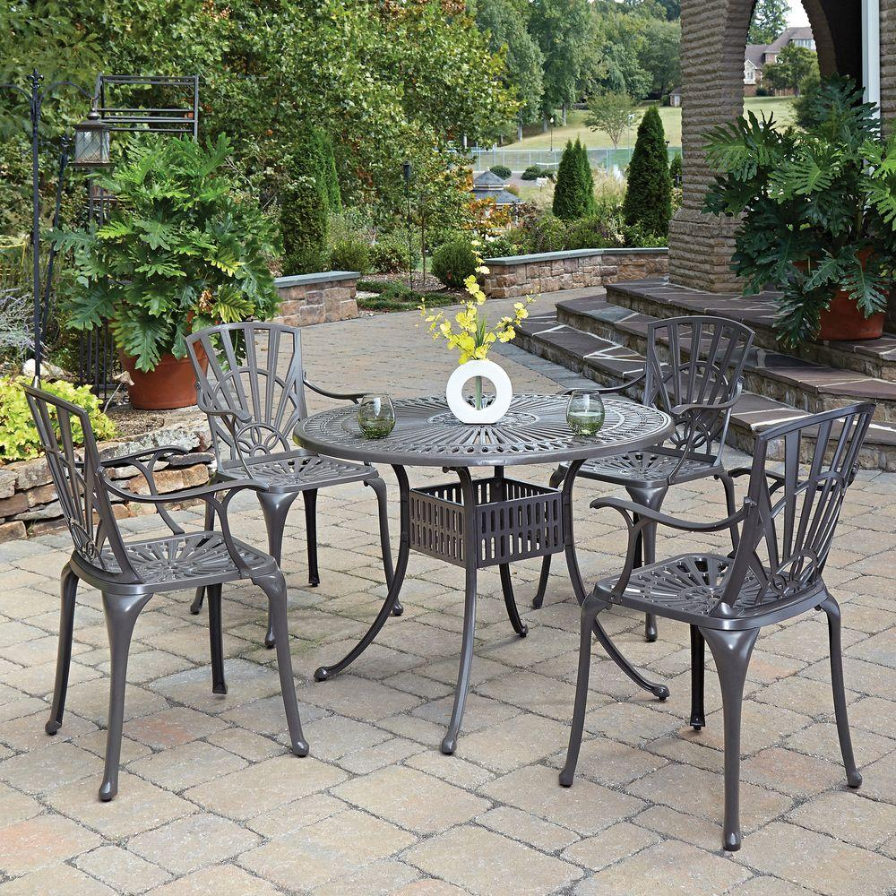 home styles largo taupe 5 piece all weather patio dining set 5561 308 the home depot. Black Bedroom Furniture Sets. Home Design Ideas