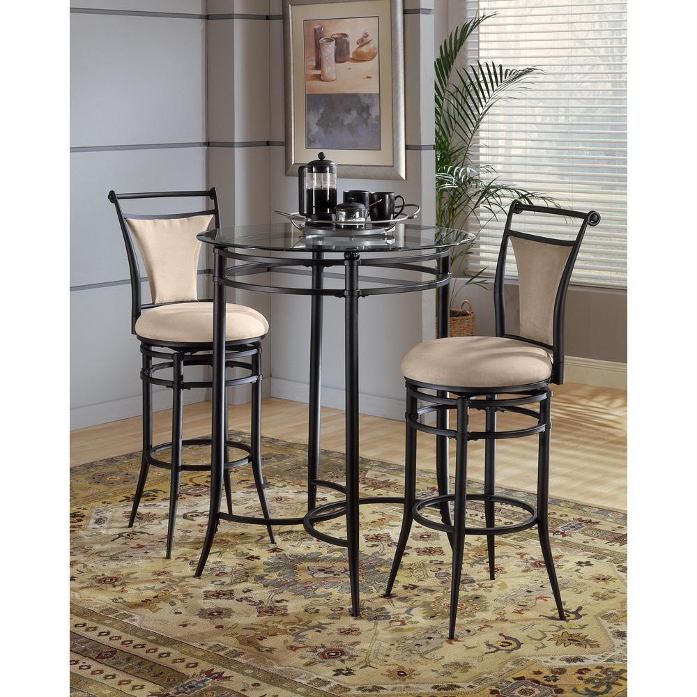 Hillsdale Furniture Cierra 30 in. Black Swivel Cushioned Bar Stool