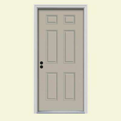 36 in. x 80 in. 6-Panel Desert Sand Painted Steel Prehung Right-Hand Inswing Front Door w/Brickmould