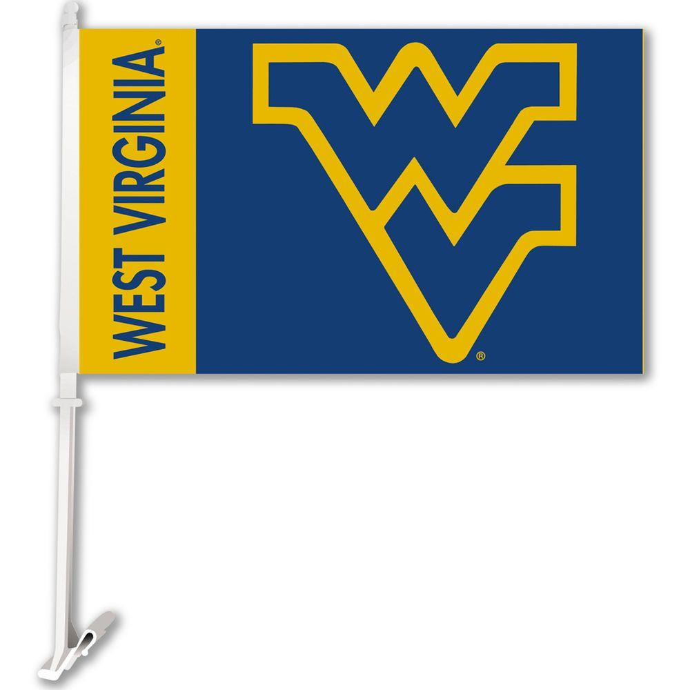 Ncaa 11 in. x 18 in. West Virginia 2-Sided Car Flag with 1-1/2 ft. Plastic Flagpole (Set of 2)