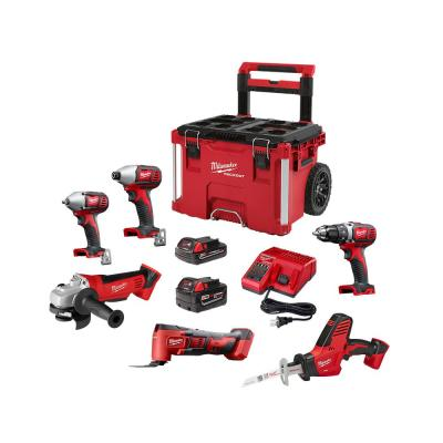 M18 18-Volt Lithium-Ion Cordless Combo Tool Kit (6-Tool) with 2-Batteries, Charger and PACKOUT Rolling Tool Box
