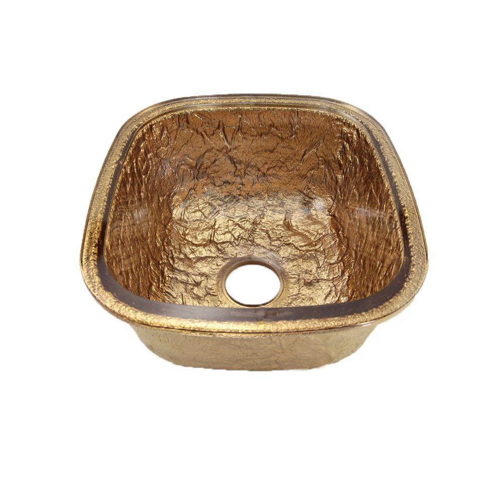 JSG Oceana Undermount Glass 17 in. 0-Hole Kitchen Sink in 24K Gold