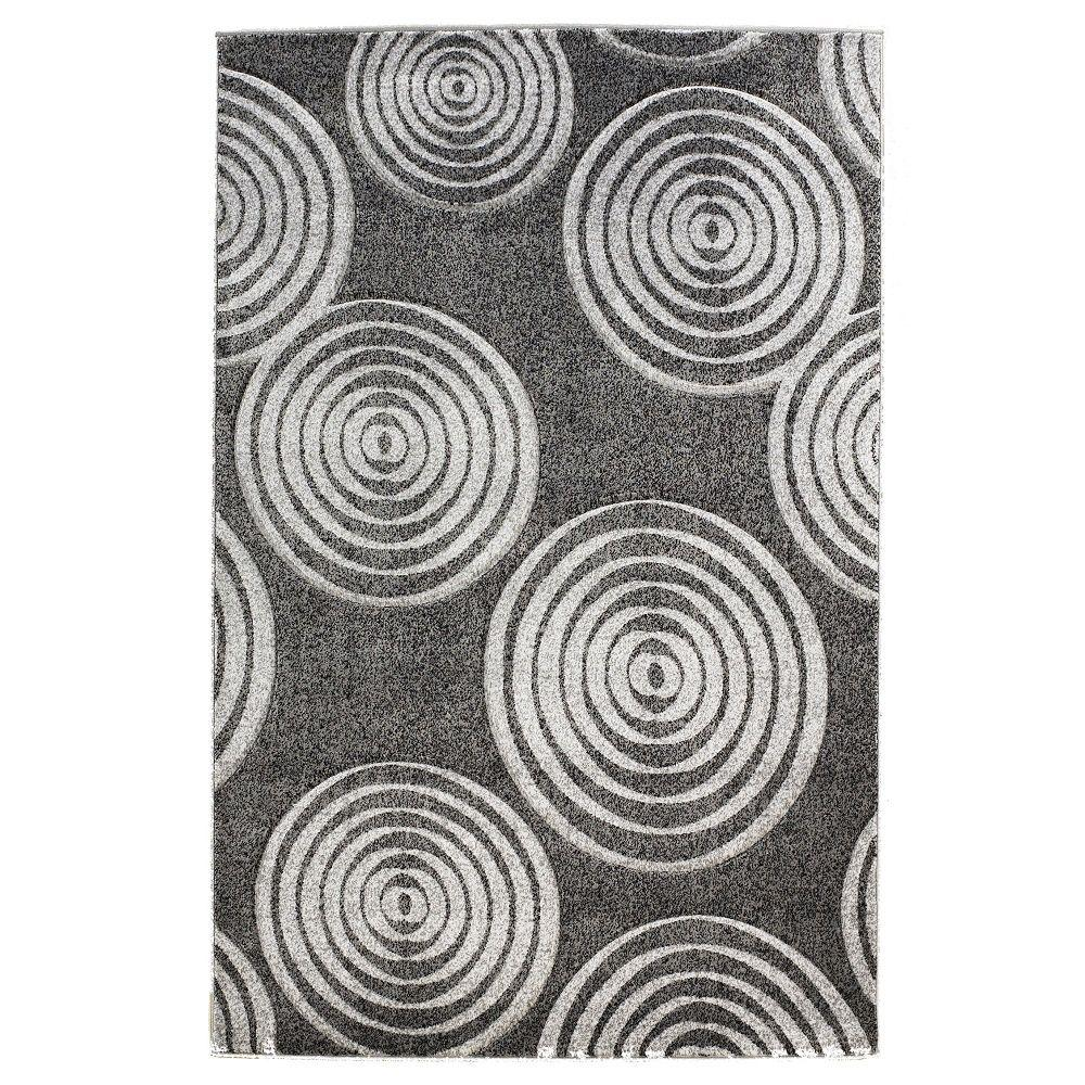 Linon Home Decor Milan Collection Black and Grey 5 ft. x 7 ft. 7 in. Indoor Area Rug
