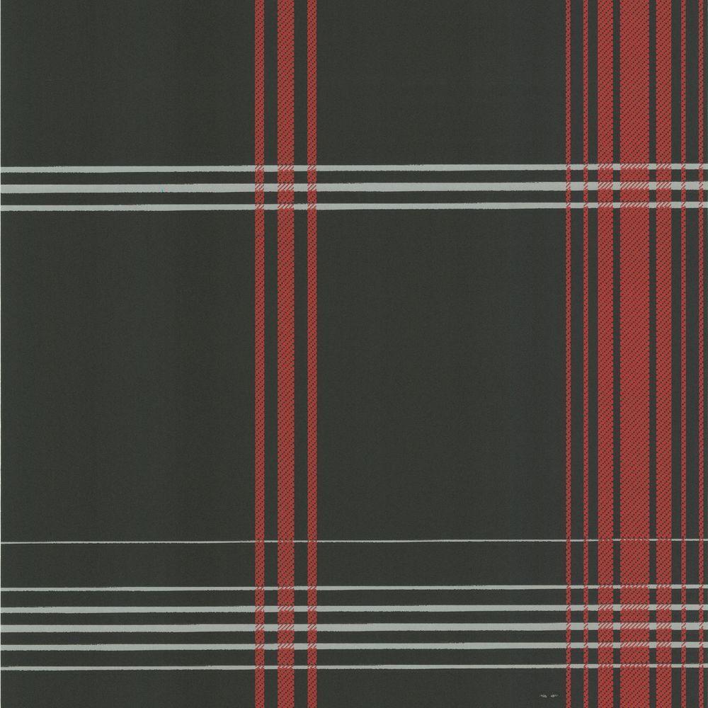 Oskar Charcoal Plaid Wallpaper