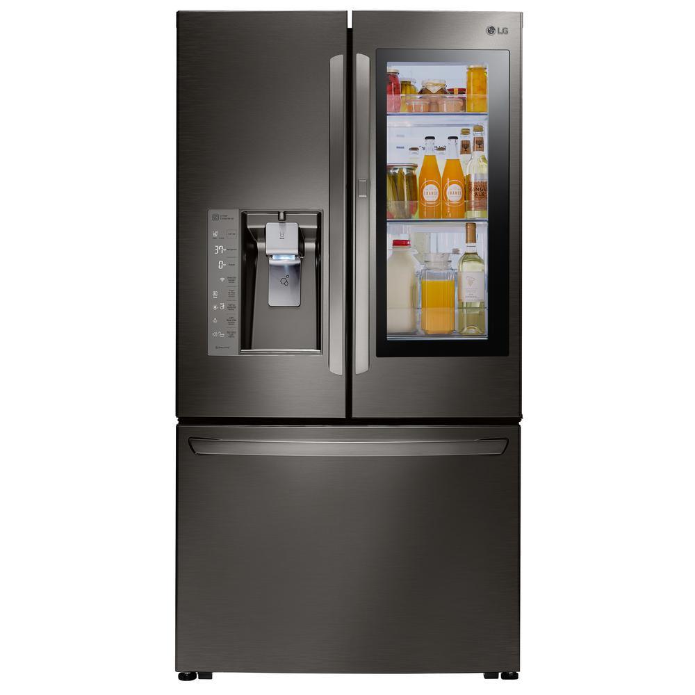 LG Electronics 24 cu. ft. 3-Door French Door Smart Refrigerator with InstaView Door-in-Door in Black Stainless Steel, Counter Depth