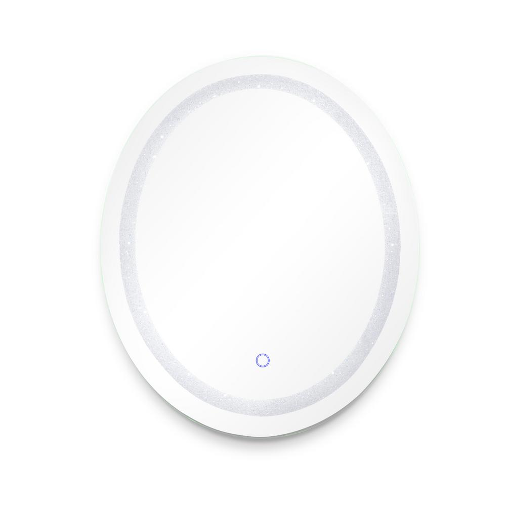 Dyconn Edison Crystal Oval 30 in. x 36 in. Wall Backlit LED Mirror with Touch On/Off Dimmer and Anti-Fog Function