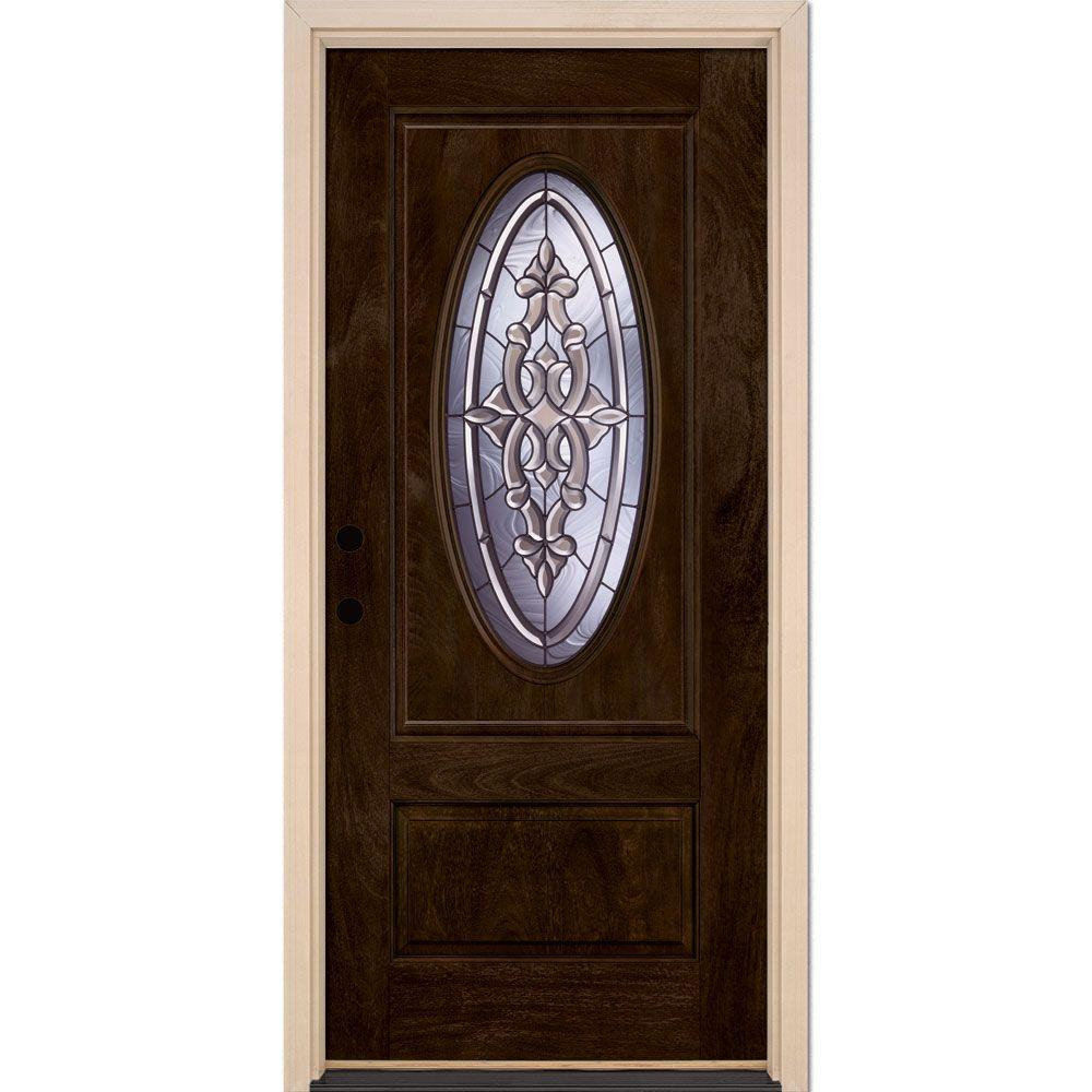 Feather River Doors 37.5 in. x 81.625 in. Silverdale Patina 3/4 Oval Lite Stained Chestnut Mahogany Right-Hand Fiberglass Prehung Front Door