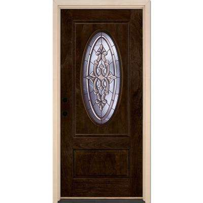 37.5 in. x 81.625 in. Silverdale Patina 3/4 Oval Lite Stained Chestnut Mahogany Right-Hand Fiberglass Prehung Front Door