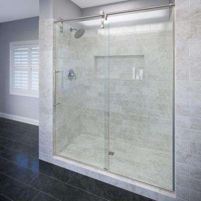 Rolaire 59 in. x 76 in. Semi-Frameless Sliding Shower Door and Fixed Panel in Brushed Stainless Steel
