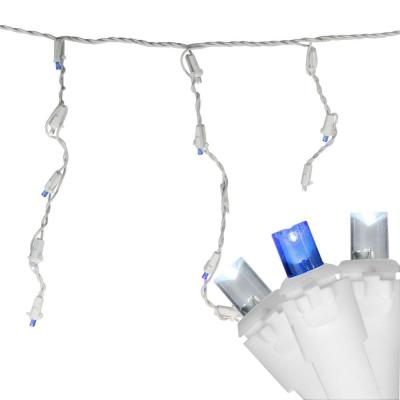 6.75 ft. 100-Light Blue and Pure White LED Wide Angle Icicle Lights