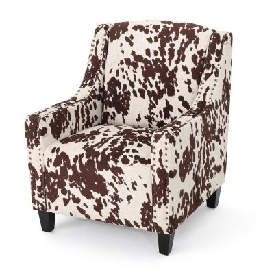Elysabeth Milk Cow and Dark Brown Studded Club Chair