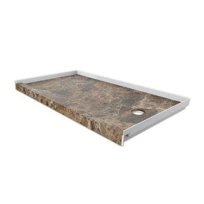 30 in. x 60 in. Single Threshold Shower Base with Left Hand Drain in Breccia Paradiso