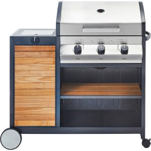 Cadac Meridan Woody 3-Burner Propane Gas Grill with Side Burner by Cadac