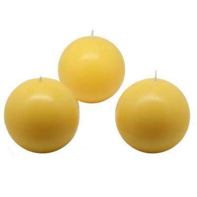 3 in. Yellow Ball Candles (6-Box)