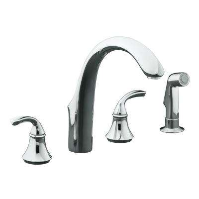 Forte 8 in. 2-Handle Standard Kitchen Faucet with Side Sprayer in Polished Chrome
