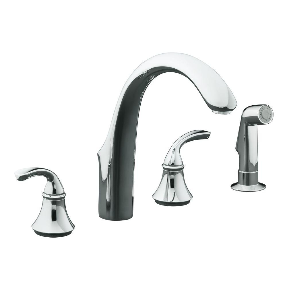 kohler forte 8 in. 2-handle standard kitchen faucet with side