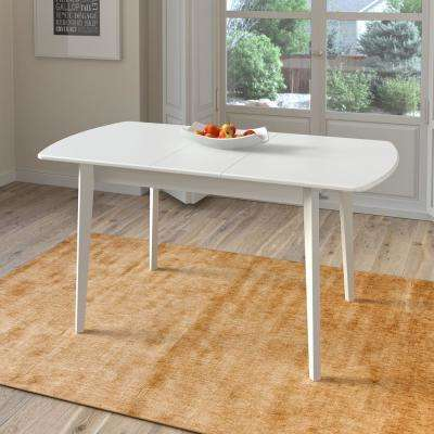Dillon White Wood Extendable Oblong Dining Table