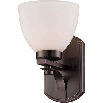 1-Light Hazel Bronze Vanity Light with Frosted Glass Shade