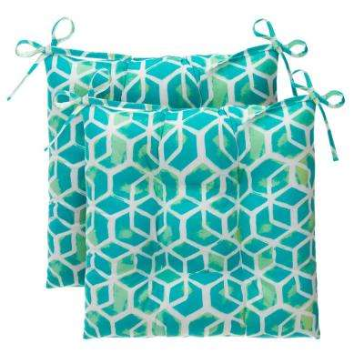 Cubed Teal Rectangle Outdoor Tufted Seat Cushion (2-Pack)