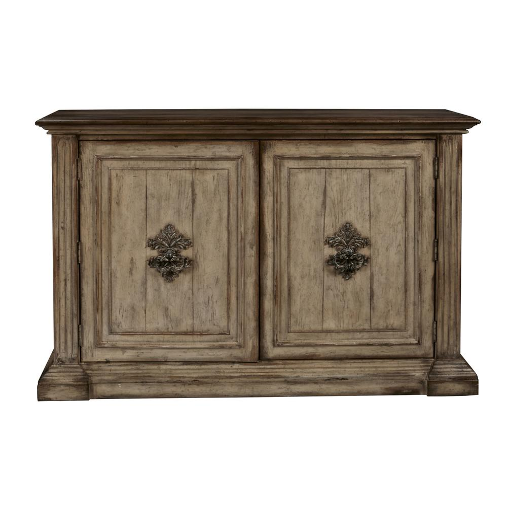 Hand Painted Traditional Brown Distressed 2-Door Accent Storage Console
