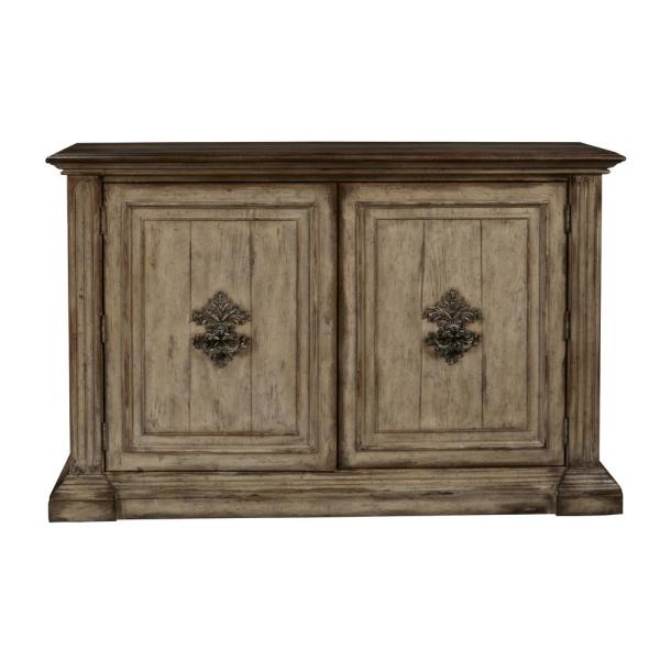 HomeFare Hand Painted Traditional Brown Distressed 2-Door Accent Storage Console