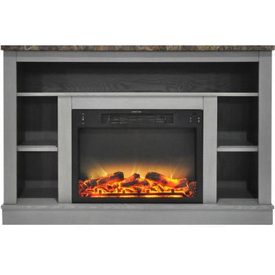 47 in. Electric Fireplace with Enhanced Log Insert and Gray Mantel